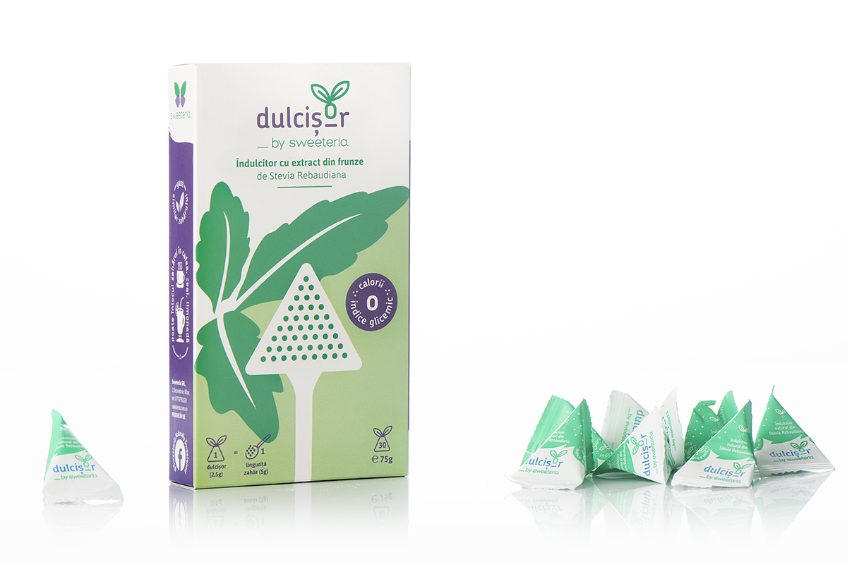 Dulcisor piramide indulcitor natural din stevie, 30 buc, Sweeteria