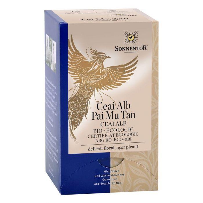 Ceai Bio Alb Pai Mu Tan (Camellia sinensis), 18 plicuri, Sonnentor drmax poza