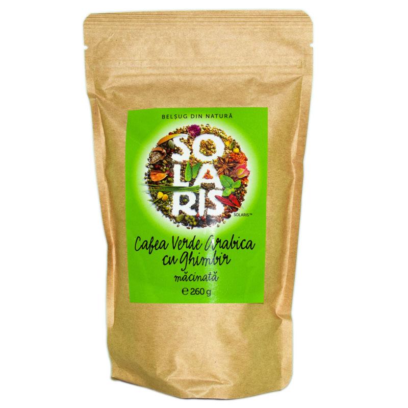 Cafea verde arabica macinata cu ghimbir, 260g, Solaris drmax.ro
