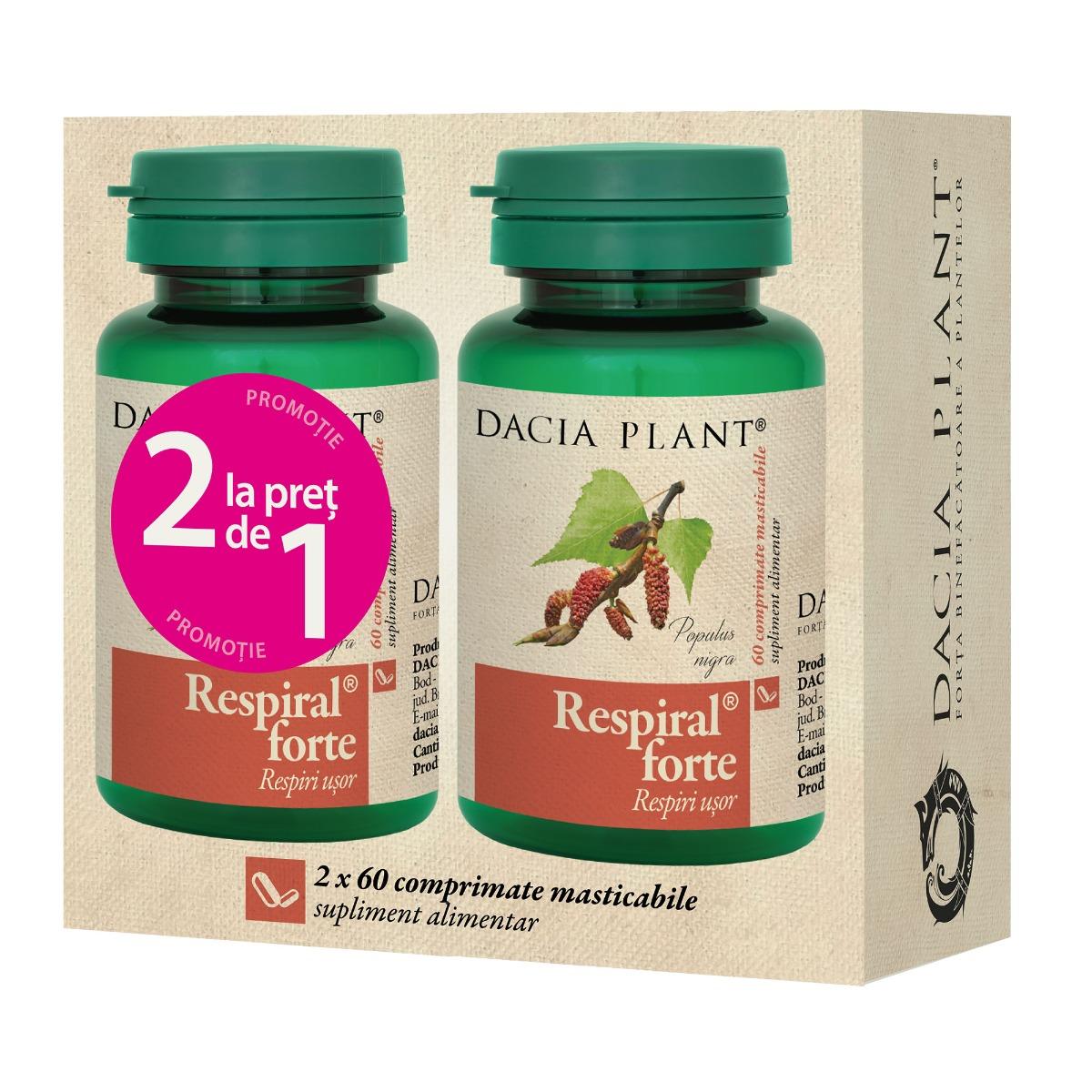 Respiral Forte 1+1 gratis, 60 comprimate, Dacia Plant drmax.ro