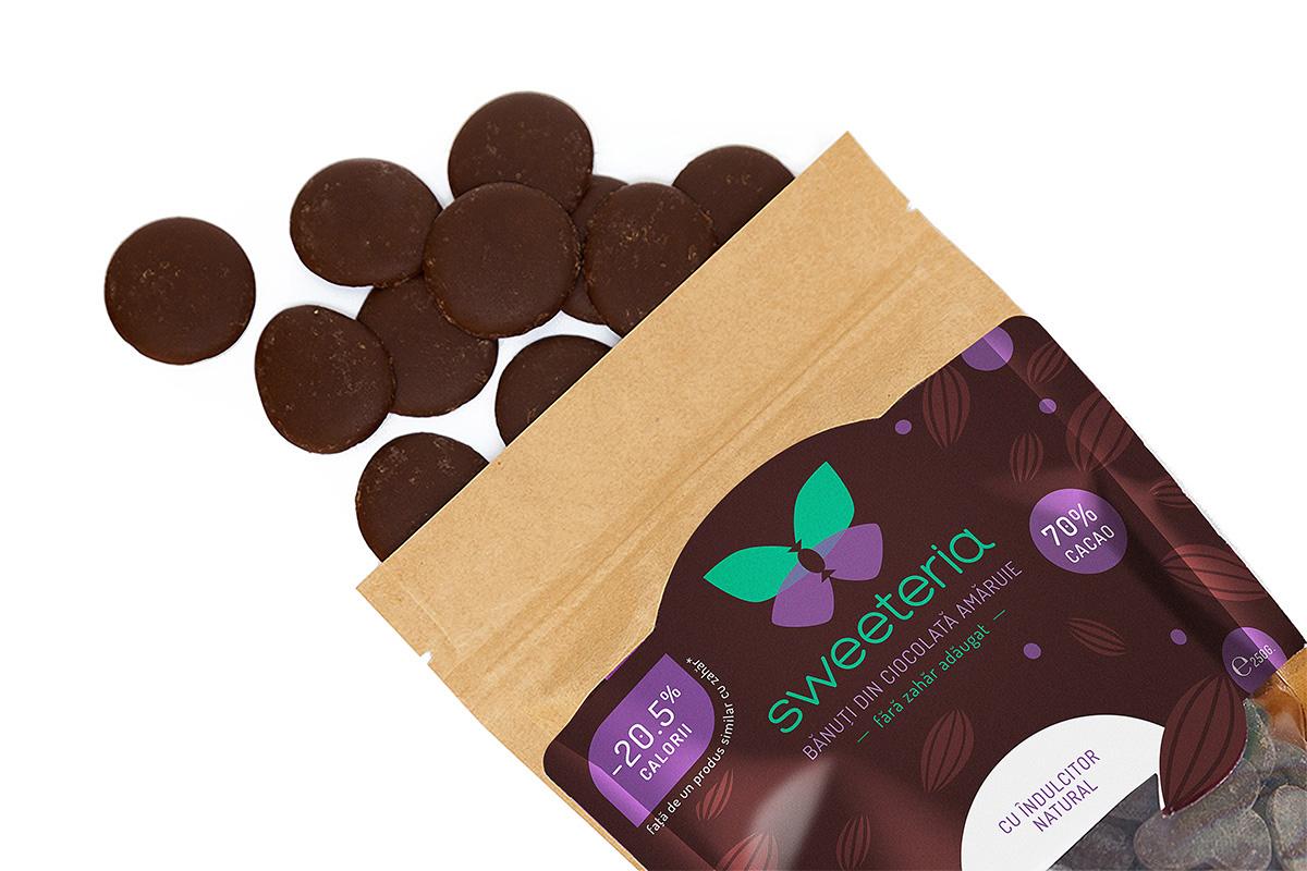 Banuti ciocolata amaruie (70% cacao), 250g, Sweeteria drmax.ro