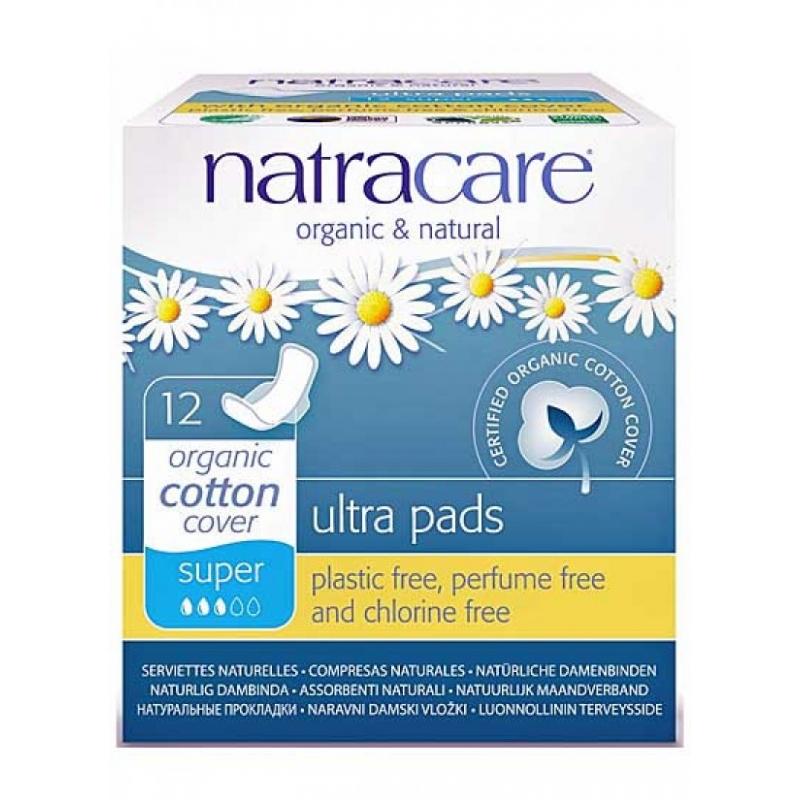 Absorbante Organice cu aripioare Ultra Pads Super, 12 bucati, Natracare