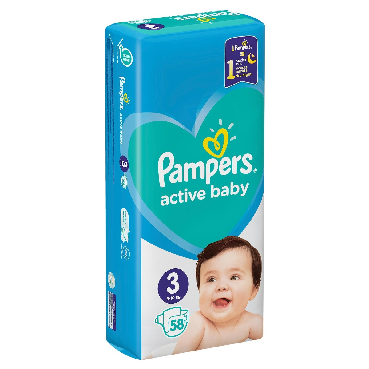 Scutece Active Baby Giant Pack marimea 3 pentru 6-10kg, 58 bucati, Pampers