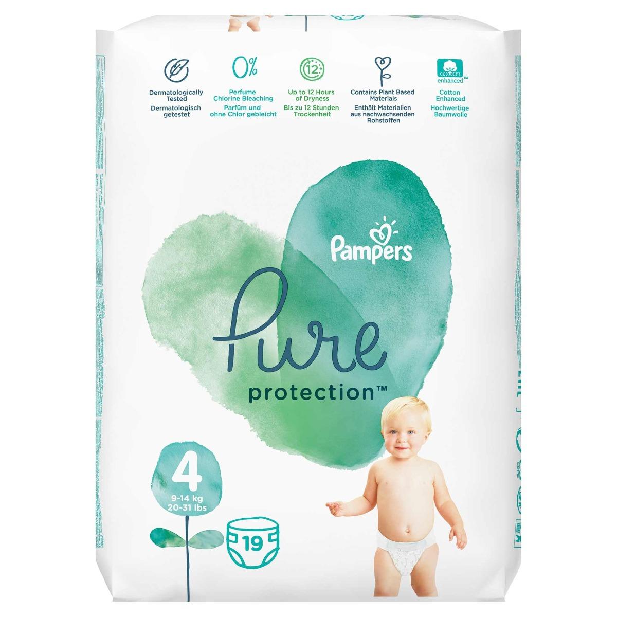 Scutece Pure Protection marimea 4 pentru 9-14kg, 19 bucati, Pampers