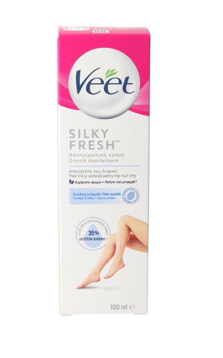 Crema depilatoare pentru piele sensibila cu aloe vera si vitamina E, 100ml, Veet