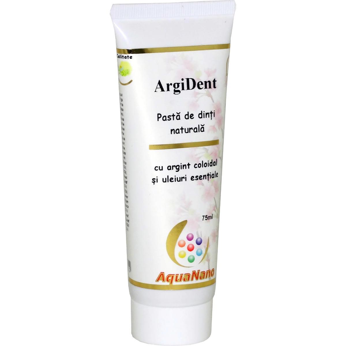 Pasta de dinti ArgiDent cu argint coloidal si uleiuri esentiale AquaNano, 75ml, Aghoras drmax.ro