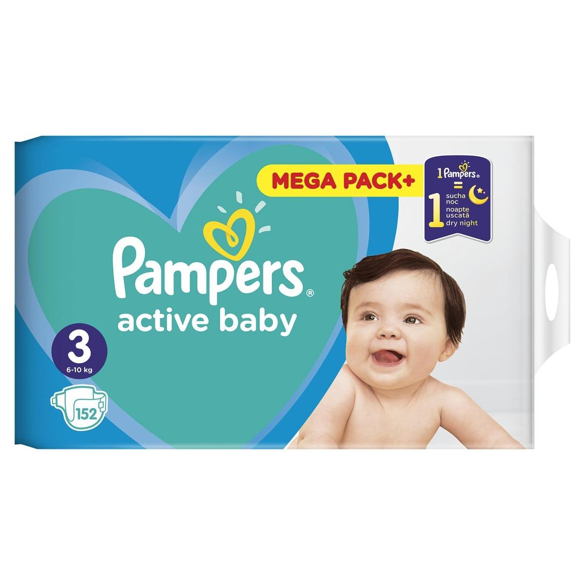 Scutece Active Baby Mega Box Marimea 3 pentru 6-10kg, 152 bucati, Pampers drmax poza