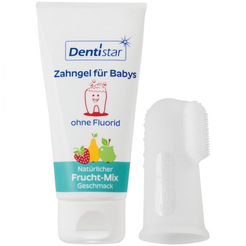 Set Pasta de dinti 30ml + Degetar moale din silicon Dentistar 3 luni+, Baby Nova imagine 2021 Baby Nova
