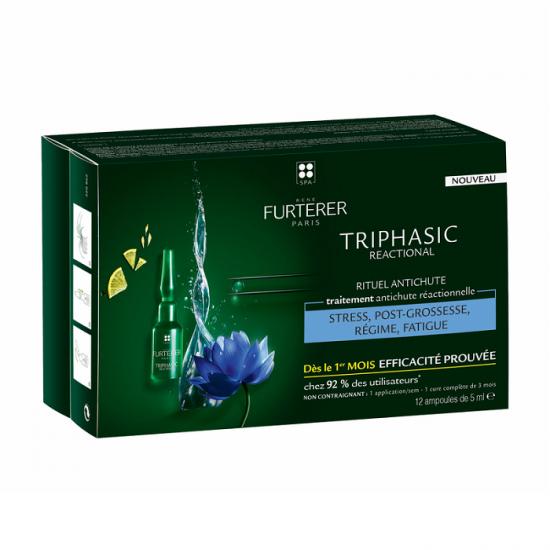 Tratament impotriva caderii parului Triphasic Reactional, 12 fiole x 5ml, Rene Furterer drmax.ro