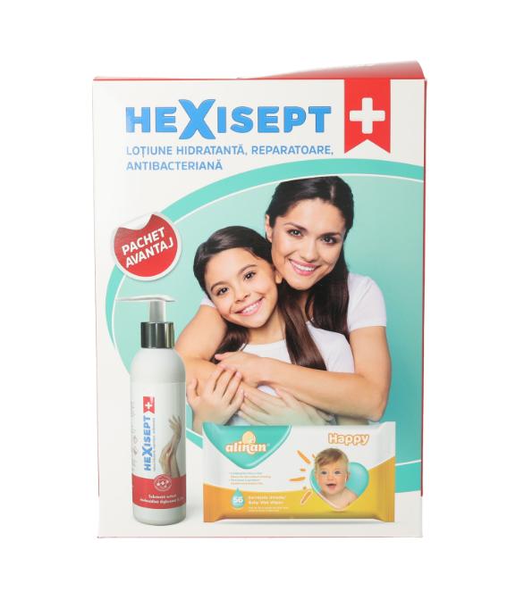 Lotiune hidratanta reparatoare antibacteriana Hexisept 250ml + Servetele cadou, Fiterman Pharma drmax poza