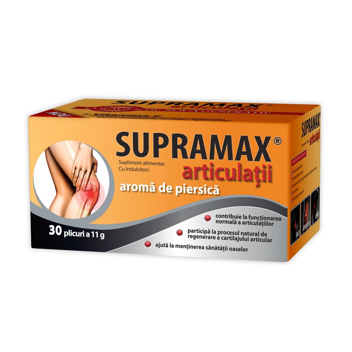 Supramax pentru articulatii cu aroma de piersica, 30 plicuri, Zdrovit drmax poza