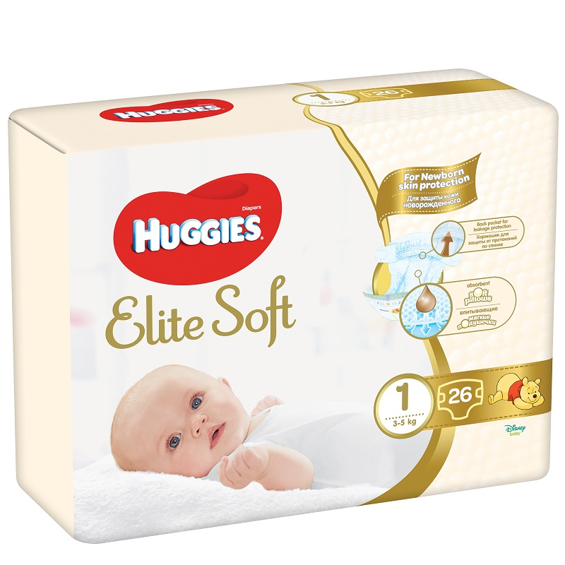 Scutece pentru copii Elite Soft 1, 3-5 kg, 26 bucati, Huggies drmax.ro