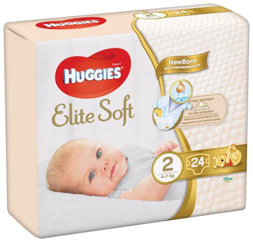 Scutece pentru copii Elite Soft 2, 4-7 kg, 24 bucati, Huggies