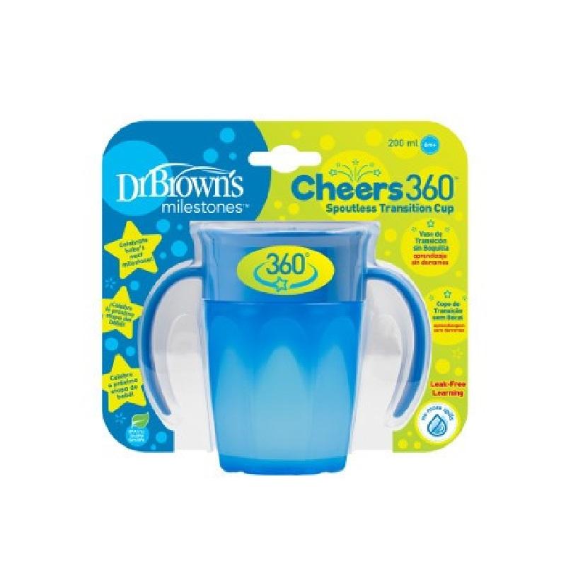 Canita albastra cu manere Cheers 360, 200ml, Dr. Brown's drmax.ro