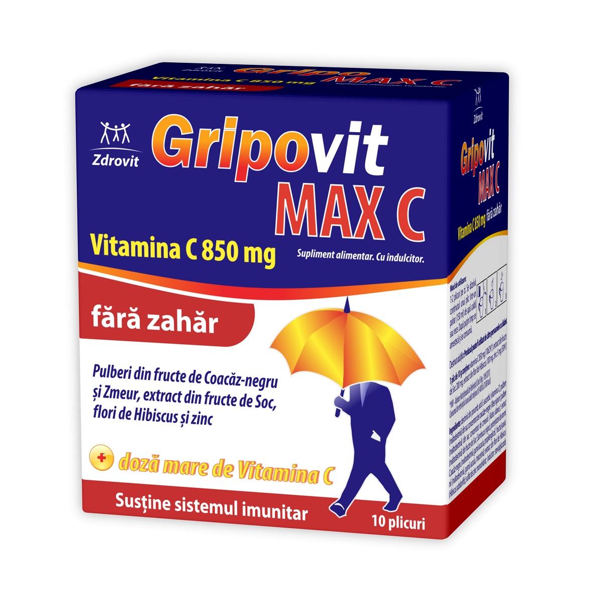 Gripovit Max C fara zahar, 10 plicuri, Zdrovit drmax.ro
