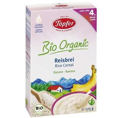 Cereale Bio cu orez si banane, de la 4 luni, 175g, Topfer drmax.ro