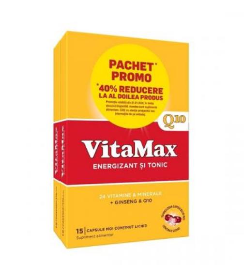 Vitamax Q10, 15 capsule + 15 capsule cu 40% reducere din al 2-lea produs, Perrigo imagine produs 2021