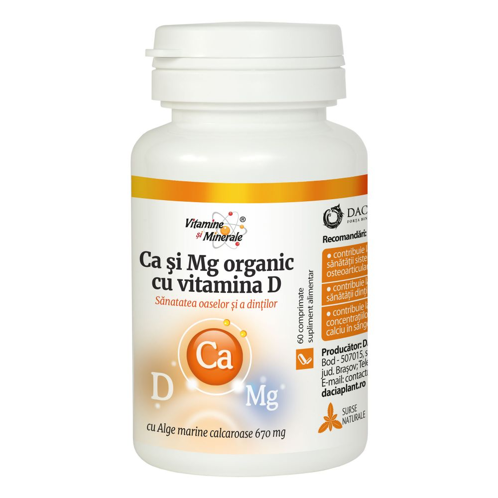 Calciu si Magneziu Organic cu Vitamina D, 60 comprimate, Dacia Plant drmax.ro