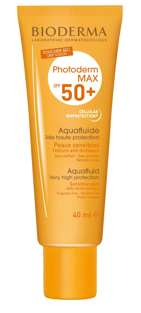 Protectie solara SPF 50+ Photoderm MAX Aquafluide incolora, 40ml, Bioderma drmax.ro