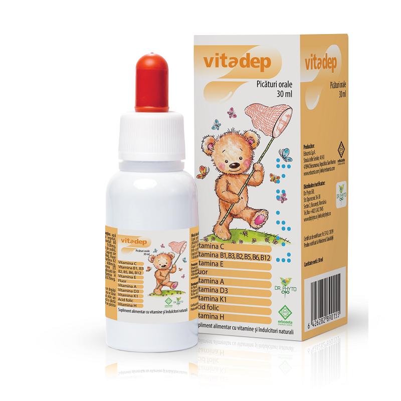 Picaturi orale cu vitamine pentru copii Vitadep, 30 ml, Dr. Phyto