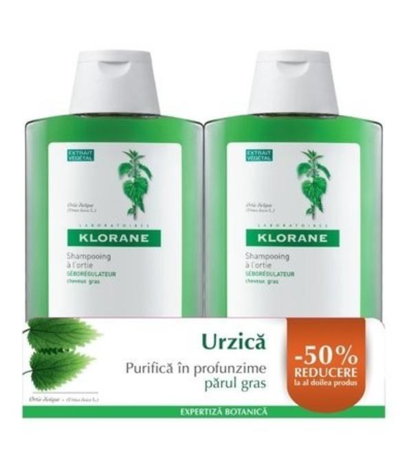 Pachet Sampon cu urzica 1+ 50% reducere la al doilea produs, 400ml+400ml, Klorane drmax.ro