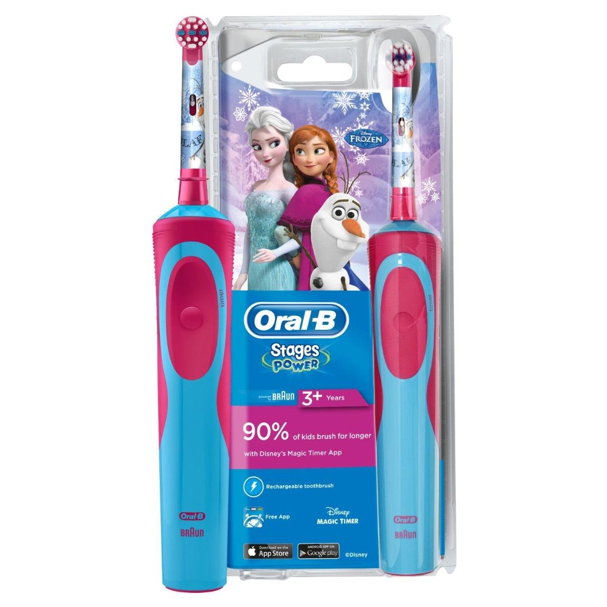 Periuta de dinti electrica pentru copii Braun Stages Power Frozen, +3 ani, D12.513K, Oral B imagine produs 2021