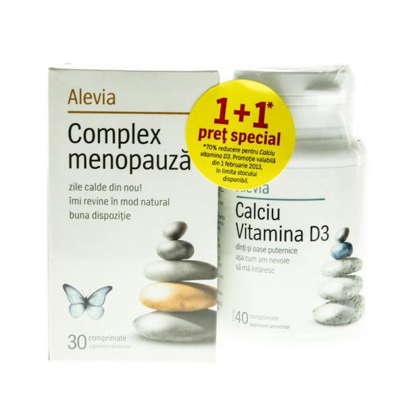 Pachet Complex menopauza + Calciu Vitamina D3, 30 comprimate + 40 comprimate, Alevia drmax.ro