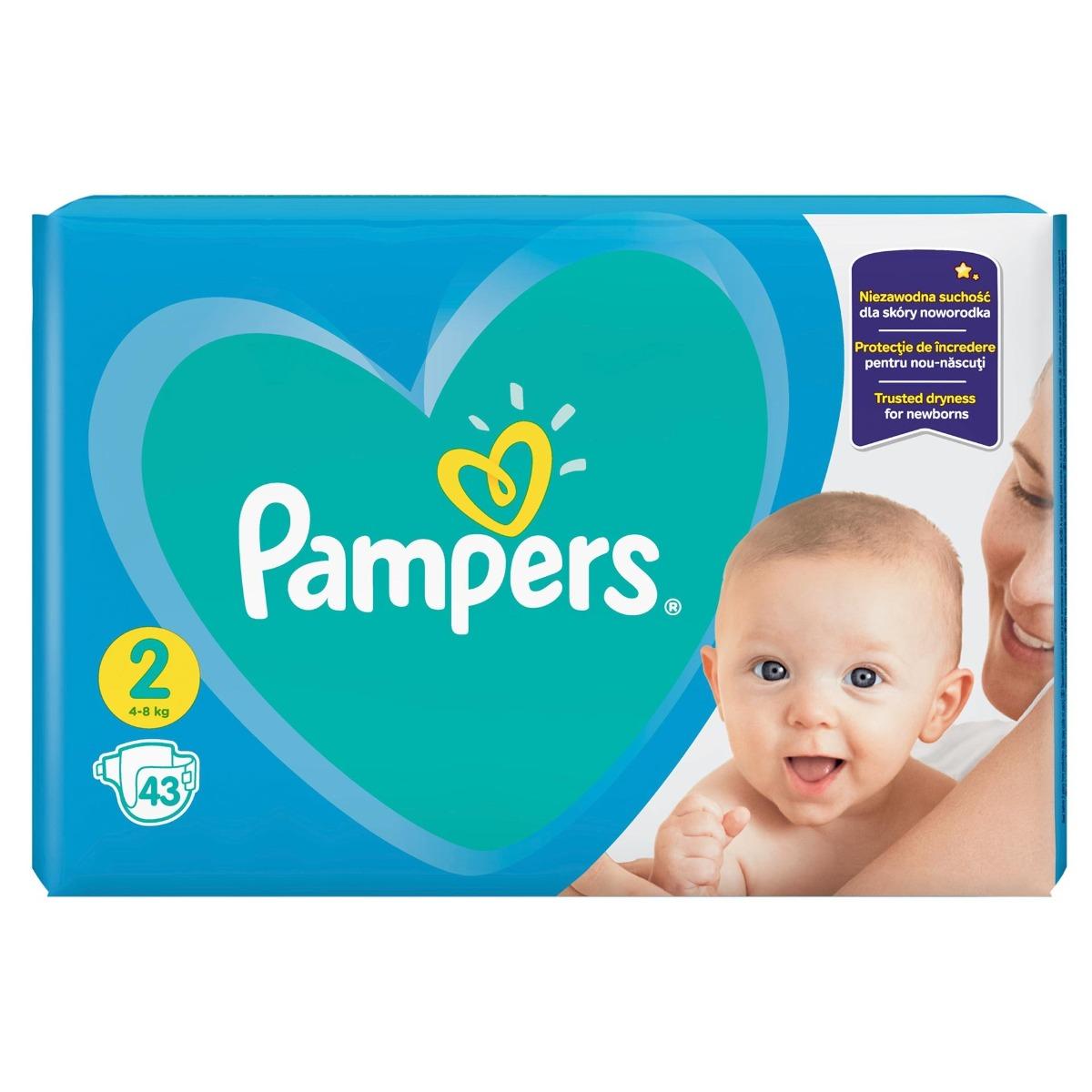 Scutece New Baby marimea 2 pentru 4-8 kg, 43 bucati, Pampers