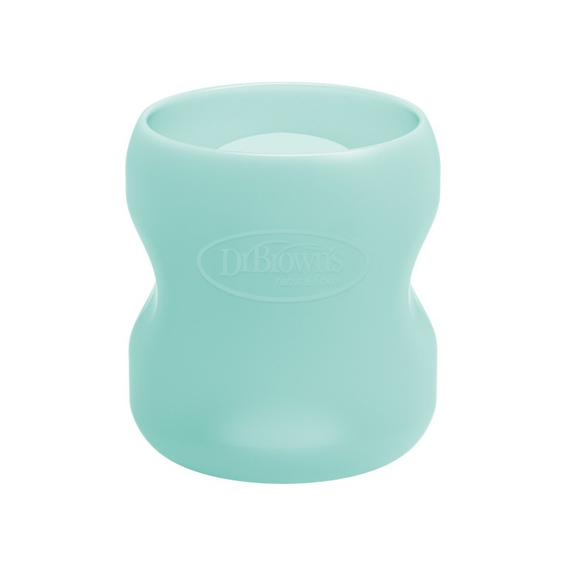 Protectie silicon pentru biberon din sticla cu gat larg verde menta, 150ml, Dr. Brown's drmax.ro
