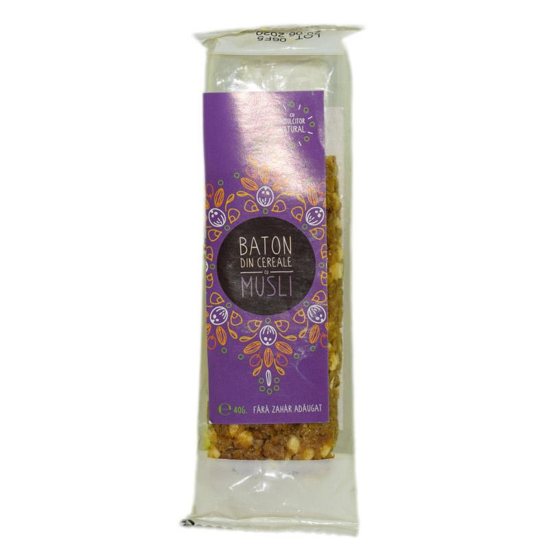 Baton musli cu indulcitor natural - stevie si erytrithol, 40g, Sweeteria drmax.ro