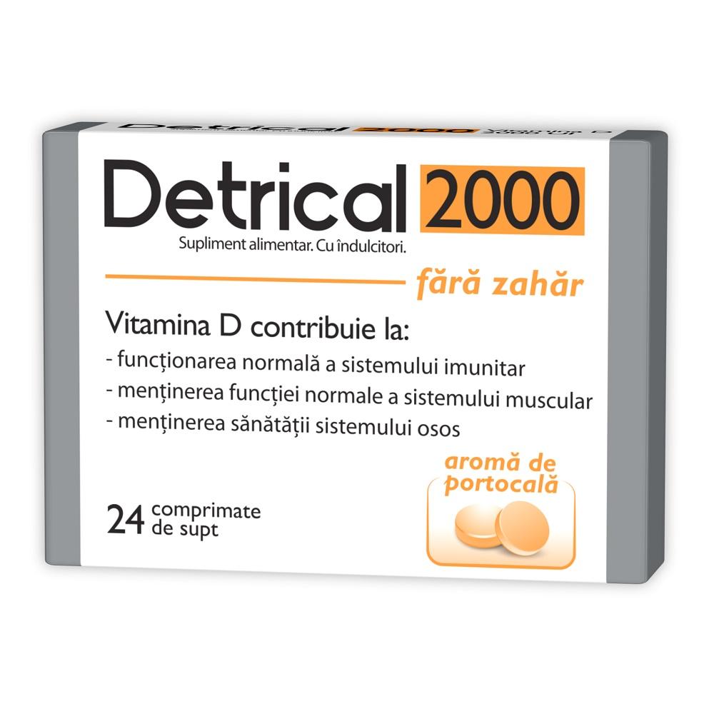 Detrical D3 2000UI fara zahar, 24 comprimate, Zdrovit drmax poza