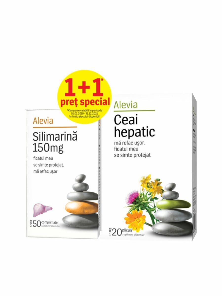 Set Silimarina 150 + Ceai hepatic, 50 comprimate +20 plicuri, Alevia drmax.ro