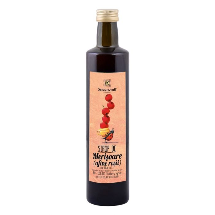 Sirop Bio Merisoare (Afine Rosii) - fara zahar, 500ml, Sonnentor drmax.ro
