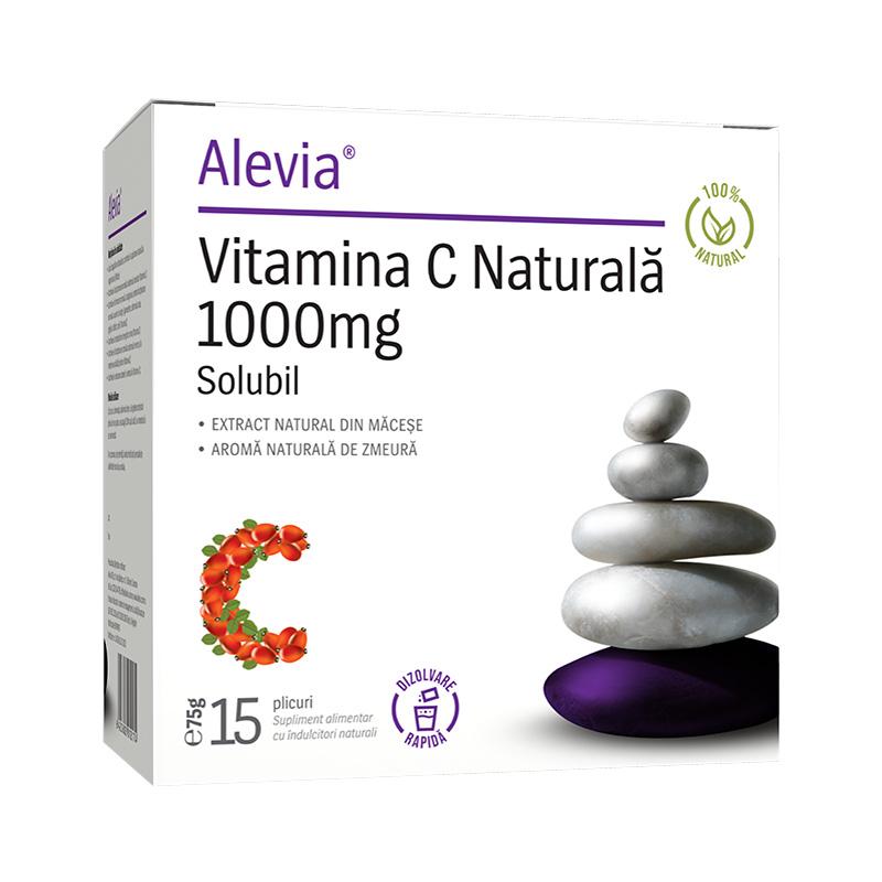Vitamina C 1000 mg extract natural din macese, 15 plicuri, Alevia imagine produs 2021