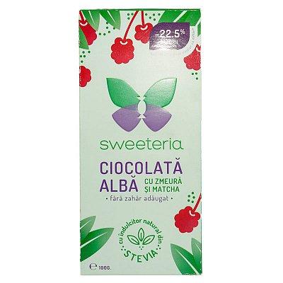 Ciocolata alba cu zmeura si matcha (Stevie si Erytrithol), 100g, Sweeteria drmax.ro