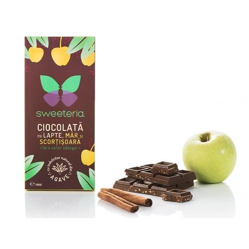 Ciocolata cu lapte mar si scortisoara cu indulcitor din agave, 100g, Sweeteria drmax.ro