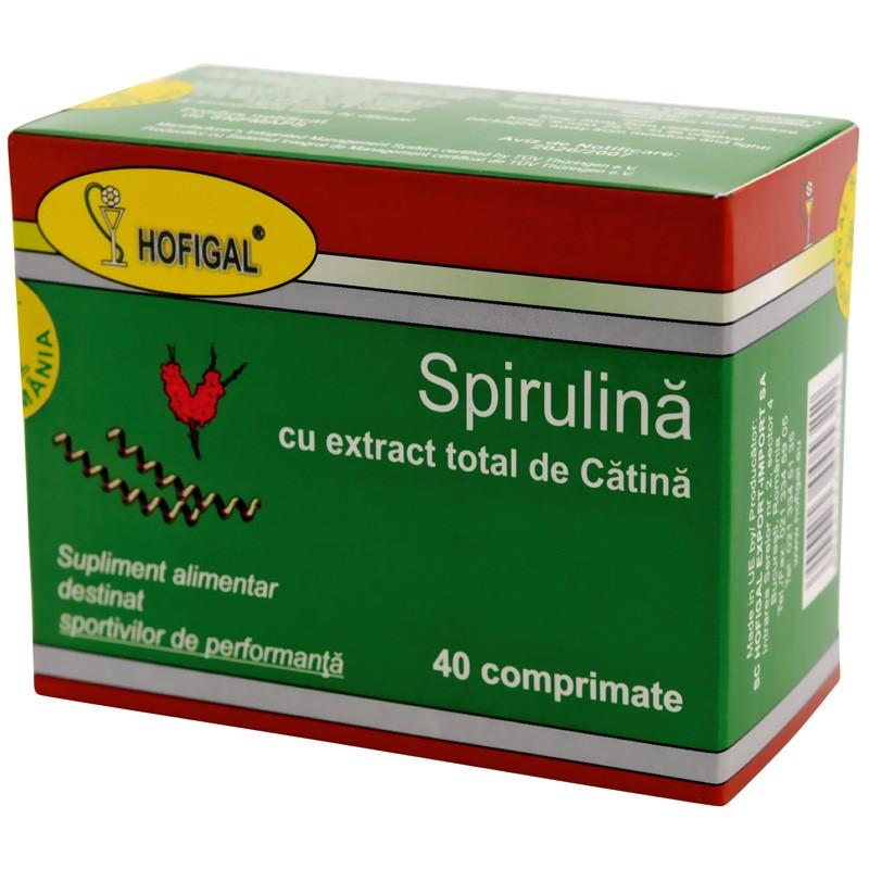 Spirulina cu extract total de catina, 40 comprimate, Hofigal drmax.ro