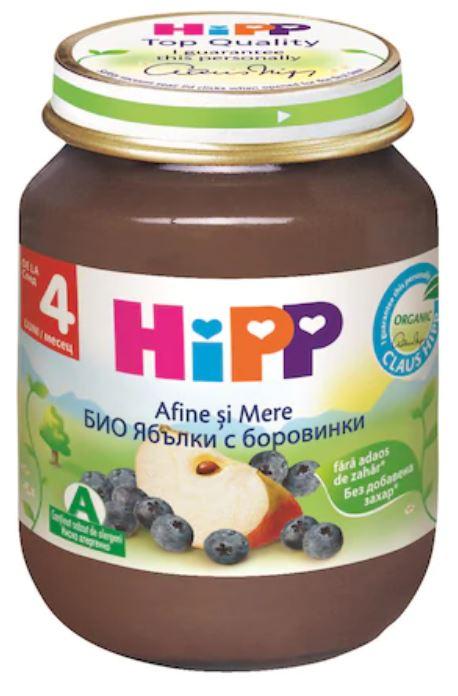 Piure Bio de fructe cu mere si afine de la 4 luni, 125g, Hipp imagine produs 2021