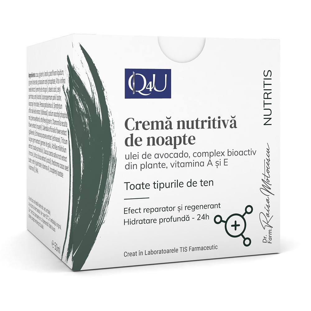 Crema nutritiva de noapte Q4U, 50ml, Tis Farmaceutic drmax.ro