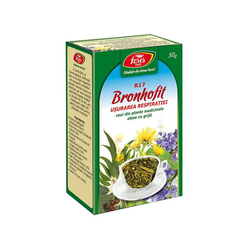 Ceai Bronhofit usurarea respiratiei, 50 g, Fares drmax.ro