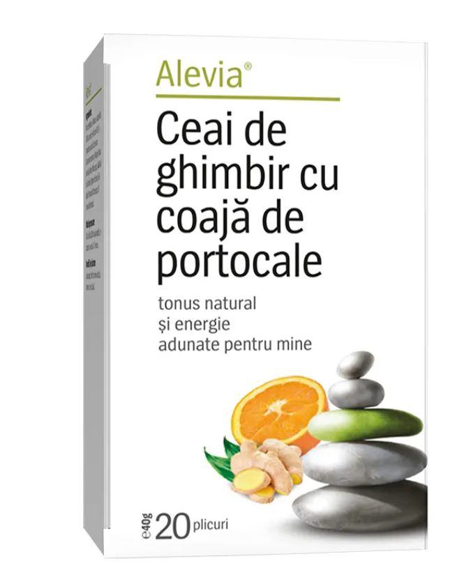 Ceai cu ghimbir si portocale, 20 plicuri, Alevia imagine produs 2021