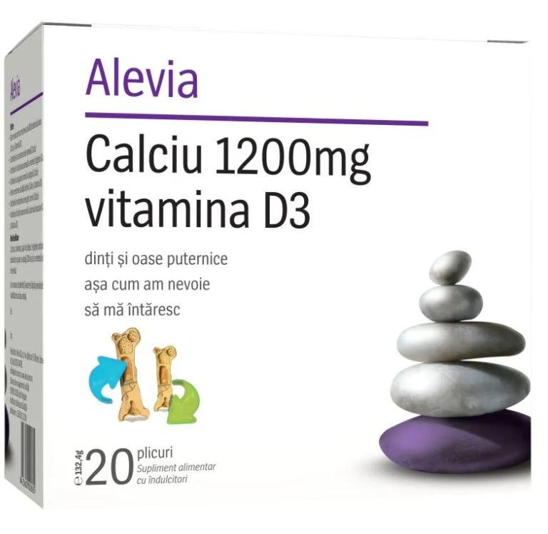 Calciu 1200mg Vitamina D3, 20 plicuri, Alevia drmax poza