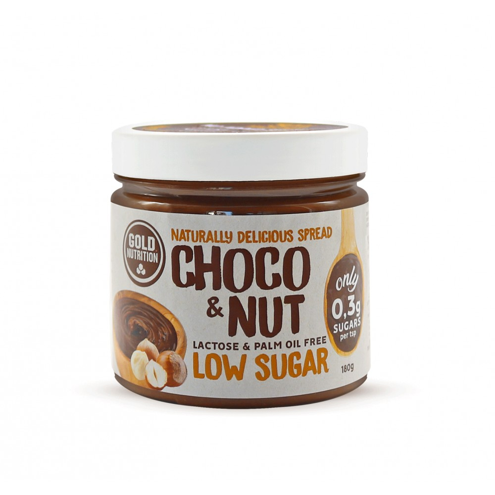Crema tartinabila Low Sugar Choco&Nut, 180g, Gold Nutrition