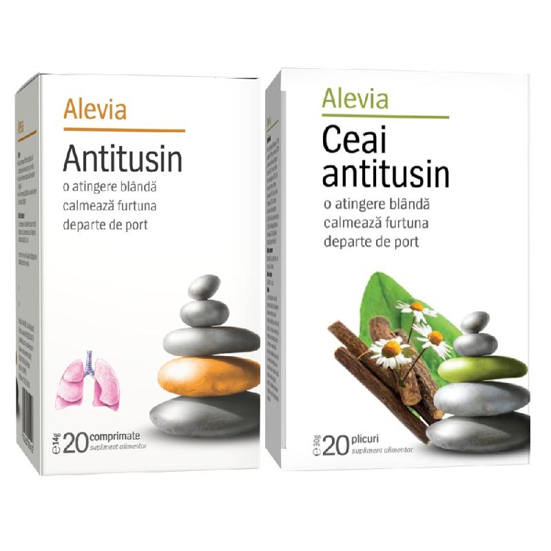 Pachet Antitusin 20 comprimate + Ceai antitusin 20 plicuri, Alevia drmax.ro