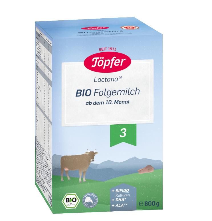 Lapte praf Bio 3 de la 10 luni, 600g, Topfer drmax.ro