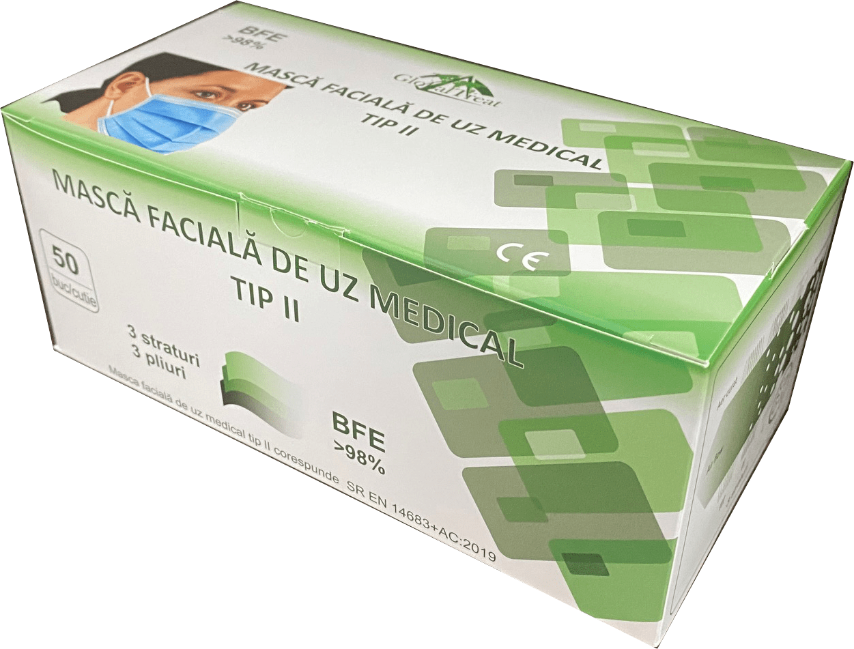 Masti faciale pentru uz medical Tip II, 50 bucati, Global Treat drmax poza