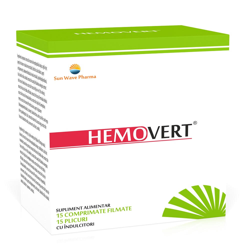 Hemovert, 15 comprimate + 15 plicuri, Sun Wave Pharma imagine produs 2021