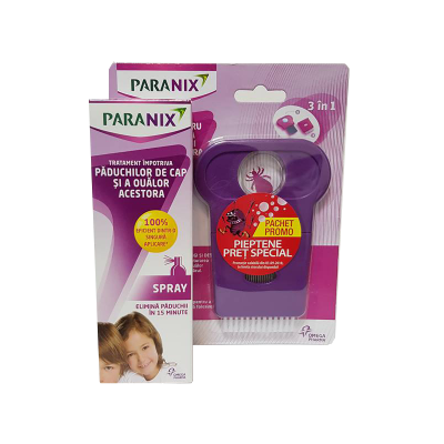 Pachet Spray tratament impotriva paduchilor, 100ml + Pieptene cadou, Paranix