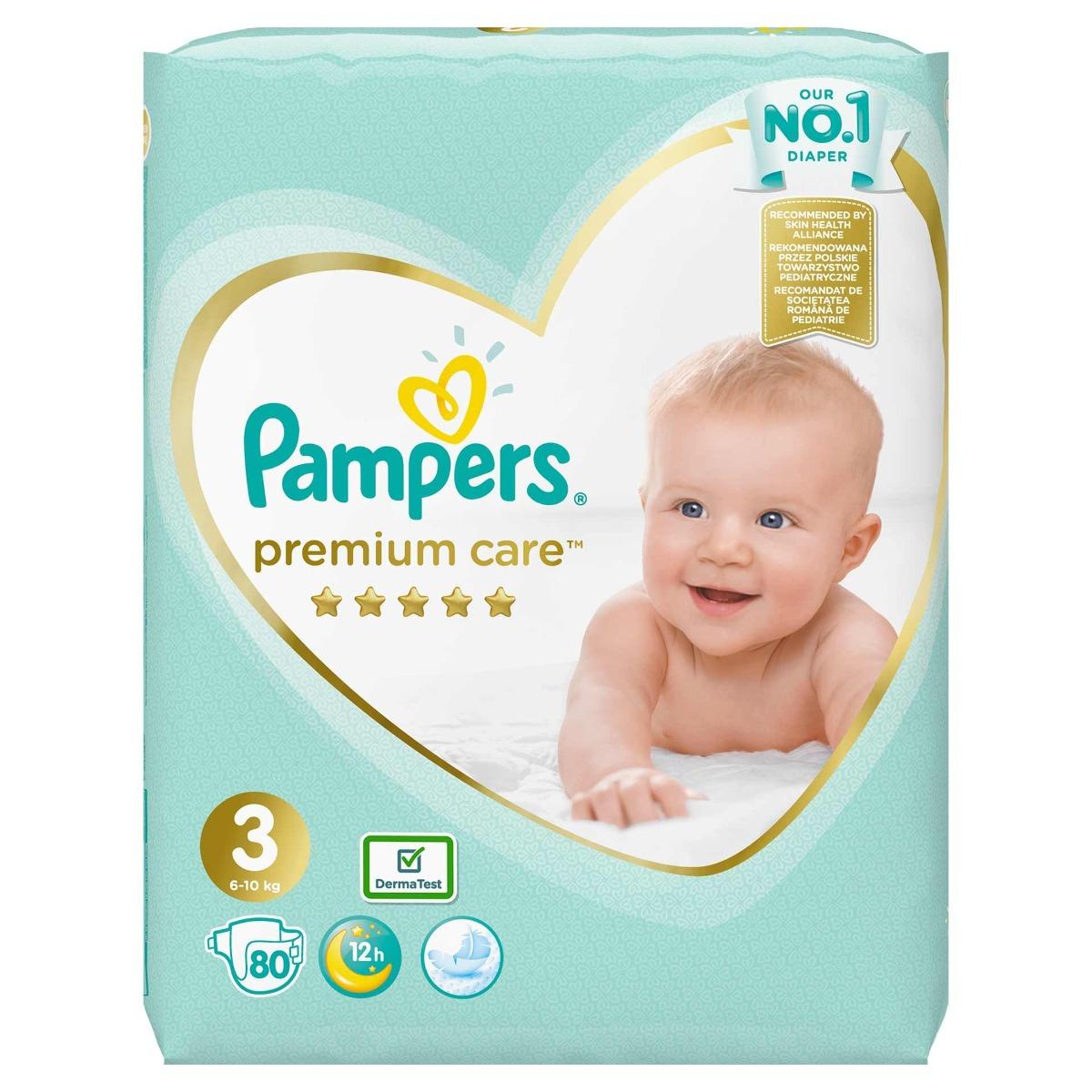 Scutece Premium Care Jumbo Pack marimea 3 pentru 6-10kg, 80 bucati, Pampers