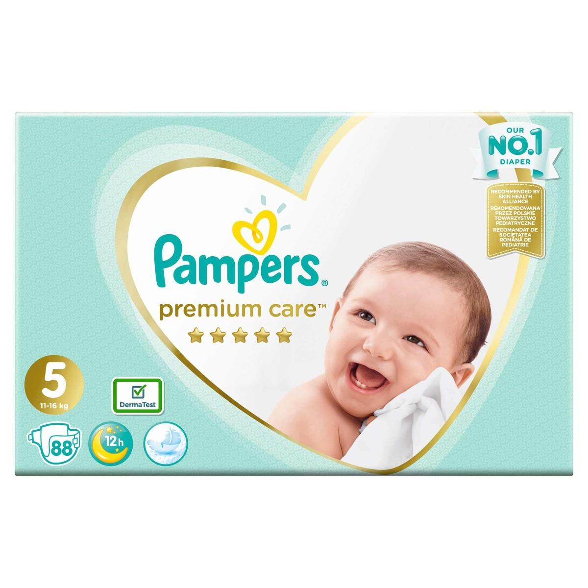 Scutece Premium Care Mega Box marimea 5 pentru 11-16 kg, 88 bucati, Pampers
